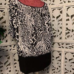 Cato black and white animal print shirt